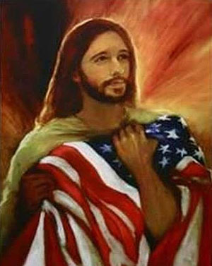 Jesus with an American flag