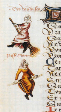 detail from a 1451 manuscript, Hexenflug der Vaudoises(Witch-flight of the Waldensians) by Martin Le France