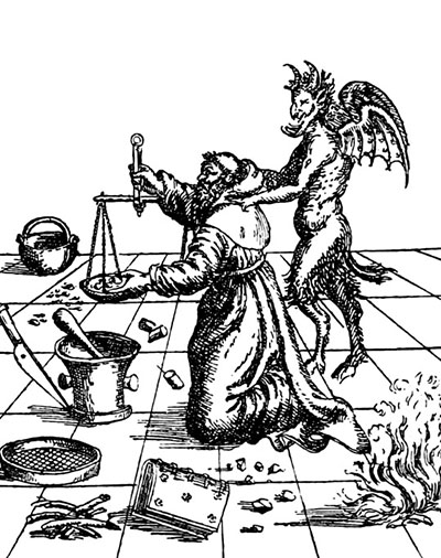 traditional battles between christianity science bad news about 18th and 19th Century Inventions this illustration depicts the devil showing a franciscan friar berthold schwarz how to make gunpowder science museum science society picture library